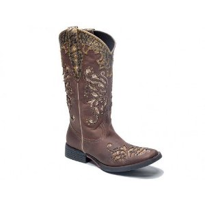 BOTA TEXANA WEST COUNTRY FEMININA CAFÉ BICO QUADRADO