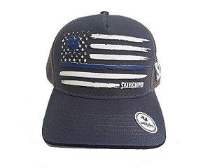 Boné Share Cropper trucker Original Bandeira América Azul