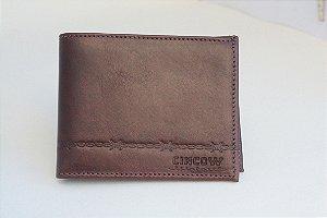 carteira masculina couro porta documento bordado arame cincow
