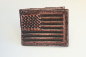 Carteira masculina couro porta dinheiro bandeira Estados Unidos