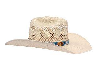 Chapéu Country Sisal Feminino Bandinha Em Tecido Imitando Miçangas Eldorado Company