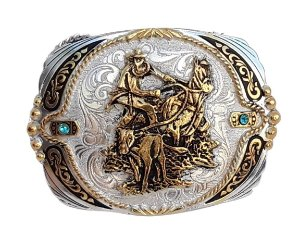 Fivela Master Calf Roper com Banho Dourado