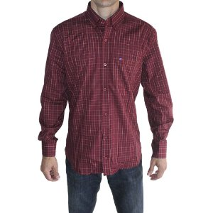 Camisa Manga Longa Smith Brothers Masculina Xadrez Bordo