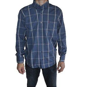 Camisa Manga Longa Smith Brothers Masculina Xadrez Azul