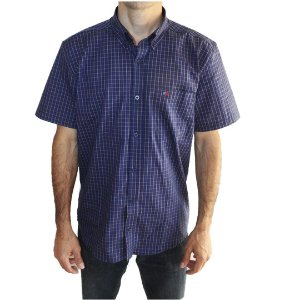 Camisa Manga Curta Masculina Azul Smith Brothers