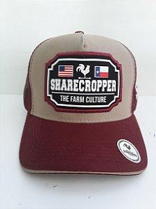 Boné Share Cropper trucker Original The Farm Culture Bordo e bege
