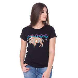 Camiseta Tatanka Feminina Preta Estampada Baby Look