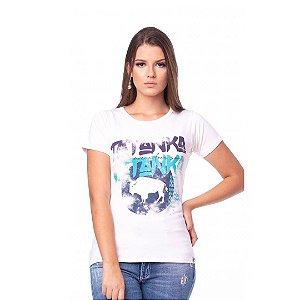 Camiseta Tatanka Feminina Bege Estampada Baby Look