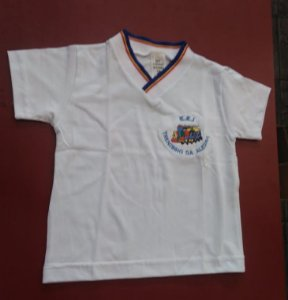Camiseta manga curta branca Trenzinho