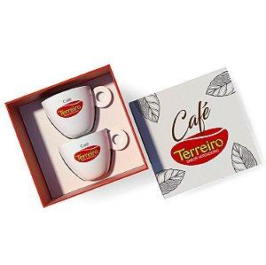 Kit Folhas Para Colecionar 2 Xícaras de Café + 2 Pires