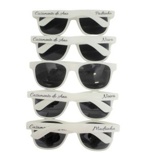 Óculos Casamento PADRINHOS & NOIVOS Personalização Padrão - 12 unidades Branco
