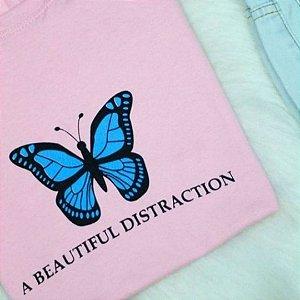 T-shirt Top Borboleta Azul