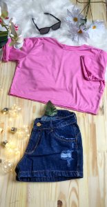 Camiseta Feminina T-Shirt Cropped Season Colors Rosa Bebê