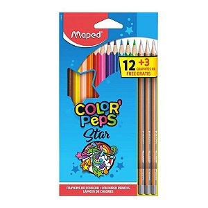 Lapis de COR Triangular Color PEPS 12 CORES + 3LAPIS