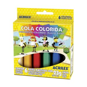 Cola Colorida com 6 cores Acrilex