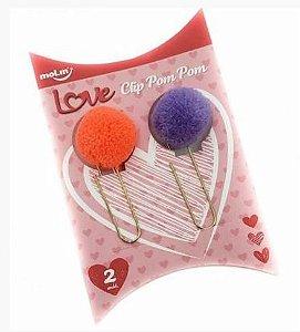 Clipes Pom Pom - 2 Unidades - Laranja e Roxo - Molin