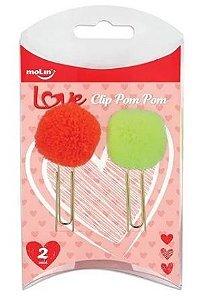 Clipes Pom Pom - 2 Unidades - Laranja e Verde - Molin