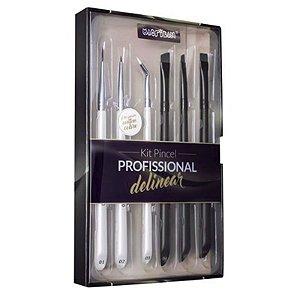 Kit WB700 com 6 pincéis profissionais para delinear Macrilan – Linha W