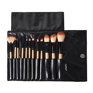 Kit Com 12 Pincéis  Profissionais Para Maquiagem KP1-2G  - Macrilan