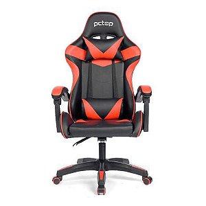Cadeira Gamer PCTop Reclinável Preta e Vermelha