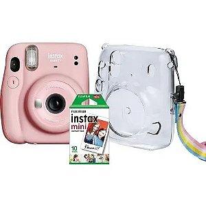 Kit Câmera Instax Mini 11 + Bolsa + 10 Filmes Fujifilm Rosa