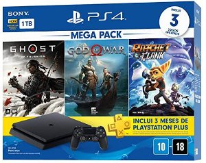 Console Playstation 4 Hits 1tb Bundle 18 - Games God Of War + Ratchet And Clank + Ghost Of Tsushima