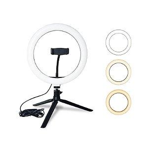 Iluminador Ring Light 10 Polegadas 25W 26cm com Tripé pequeno 120 Leds