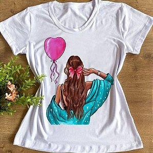 T-shirt menina com balão