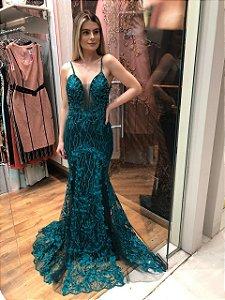 Vestido longo esmeralda com aplicações e bordados