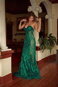 Vestido longo verde esmeralda rendado