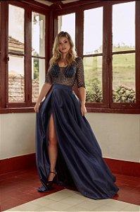 Vestido longo azul naval com bordados