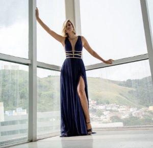 Vestido longo azul naval grego