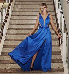 Vestido longo azul bic com detalhes e transparência