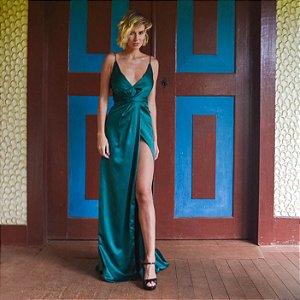 Vestido longo verde esmeralda alça fina e fenda