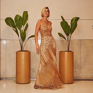 Vestido longo dourado premium super bordado com franja