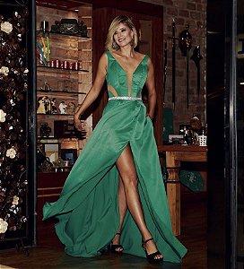 Vestido longo verde com detalhes em transparência e fenda