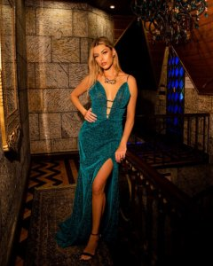 Vestido longo verde esmeralda de lurex cm fenda