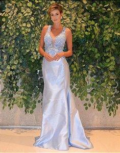 Vestido longo azul serenity com aplicações e bordados