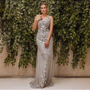 Vestido longo prata com aplicações e bordados