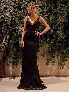 Vestido longo preto com aplicações e bordados