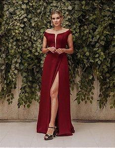 Vestido longo marsala Lilia Cabral