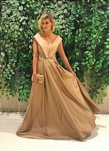 Vestido longo nude/dourado decote v