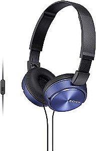 Fone de Ouvido com Microfone, Sony, Preto / Azul