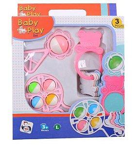 Kit Baby Play Infantil Chocalho E Mordedor Rosa 3 Peças