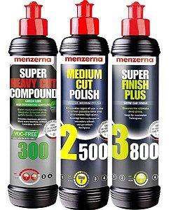 Kit Polidores 300 Green + 2500 + 3800 250ml Menzerna