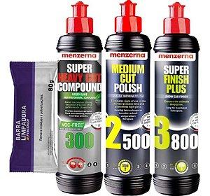 Kit Polidor 300 Green 2500 3800 250ml Menzerna + Clay Bar