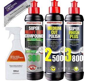 Kit Polimento 300 Green 2500 3800 250ml Menzerna + Combo