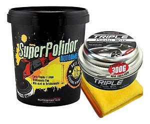 Kit Super Polidor 1kg + Cera Cristalizadora Triple Wax 300g