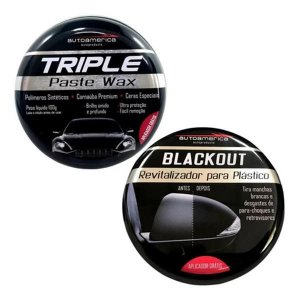 Kit Cera Triple Wax + Renovador Plasticos Blackout 100g