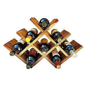 Mesa Adega de Madeira tipo Colmeia 8 Vinhos